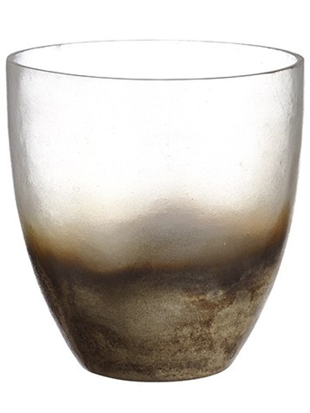 """6.5""""H X 6.5""""D Glass Vase Gray Silver (Pack Of 2) XAC532-GY/SI By Silk Flower"""