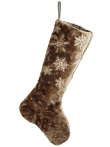 "25"" Snowflake Fur Stocking Brown White XAK641-BR/WH"