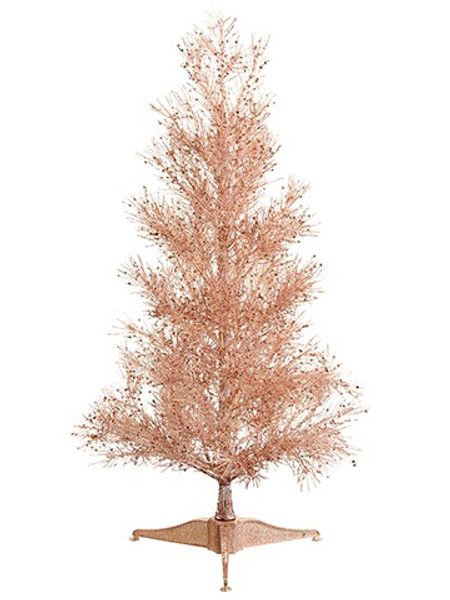 """23"""" Glittered German Pine Tree Rose Gold (Pack Of 4) XAT235-GO/RO By Silk Flower"""