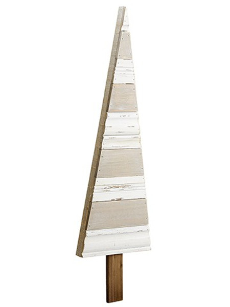 """36"""" Wood Tree Wall Decor Brown White (Pack Of 4) XAZ513-BR/WH By Silk Flower"""