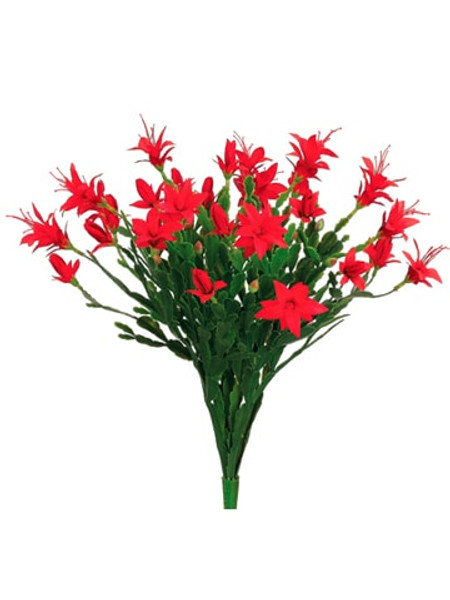 "16"" Plastic Christmas Cactus Bush With 28 Flowers And 42 Leaves Red (Pack Of 12) CC7428-RE By Silk Flower"