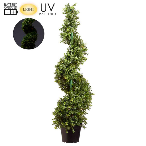 """46"""" Battery Operated Uv Protected Boxwood Spiral 70 Led Lights In Pot Green LPB253-GR By Silk Flower"""