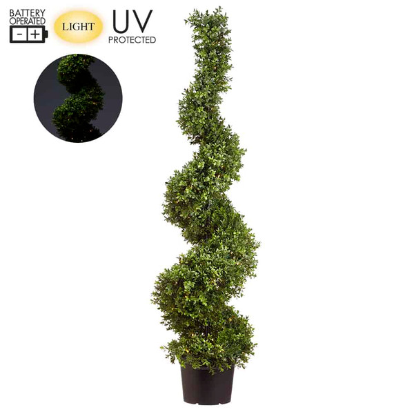 """58"""" Battery Operated Uv Protected Boxwood Spiral 100 Led Lights In Pot Green LPB256-GR By Silk Flower"""