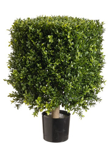 "21"" Square Boxwood Topiary In Plastic Pot Two Tone Green LZB221-GR/TT By Silk Flower"