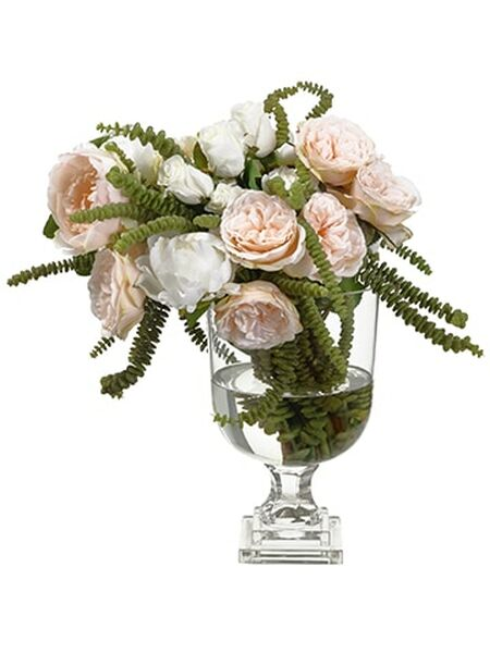 """18.5""""H X 17""""W X 18.5""""L Peony/Rose In Footed Glass Vase Pink Soft WF9317-PK/SO By Silk Flower"""