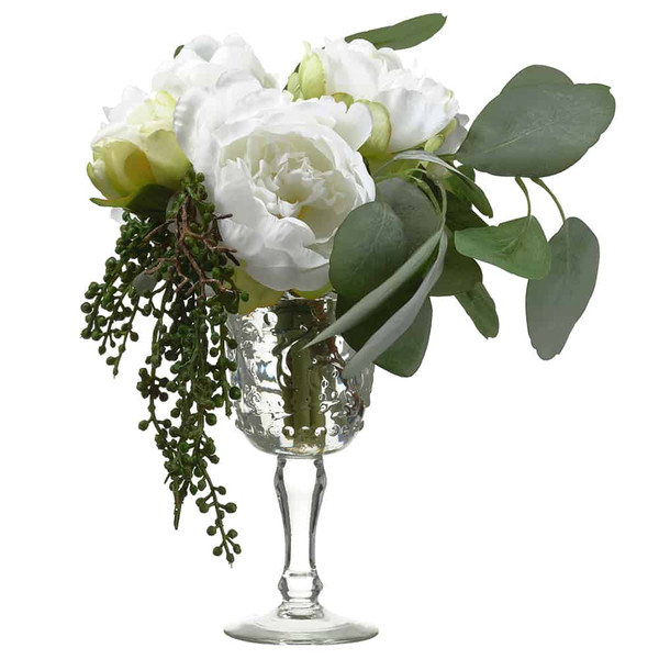 "11""H X 9""W X 11""L Peony/ Eucalyptus In Vintage Glass Vase White Green WF9318-WH/GR By Silk Flower"