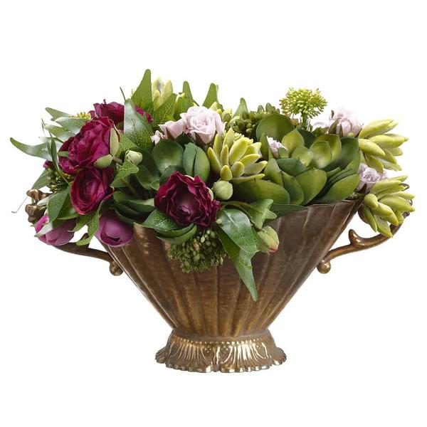 "9""H X 12""W X 16""L Ranunculus/ Sedum In Planter Purple Green WF9321-PU/GR By Silk Flower"
