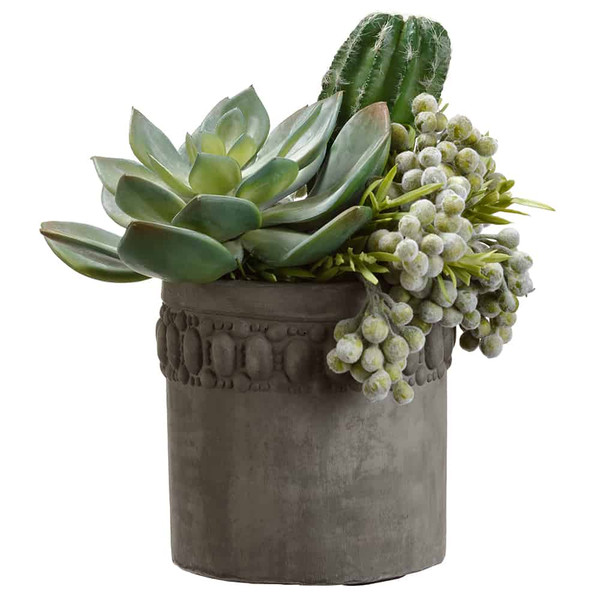 """9""""H X 8""""W X 8""""L Echeveria/ Cactus/Berry In Cement Pot Green Grey WP8256-GR/GY By Silk Flower"""