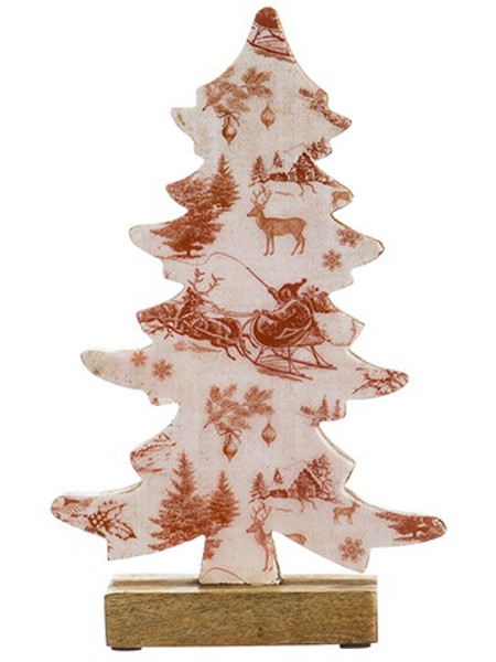 "12"" Holiday Print Tree Table Top Red Cream (Pack Of 2) XAT037-RE/CR By Silk Flower"