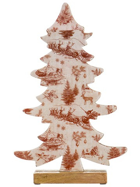 """16"""" Holiday Print Tree Table Top Red Cream (Pack Of 2) XAT038-RE/CR By Silk Flower"""