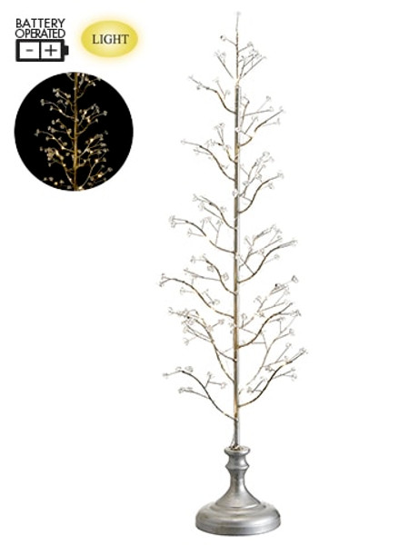 """31"""" Battery Operated Tree On Stand With Light Antique Silver XAT407-SI/AT By Silk Flower"""