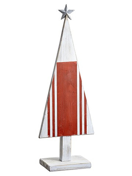 """26"""" Cone Tree Table Top With Star Red Beige (Pack Of 2) XAT455-RE/WH By Silk Flower"""