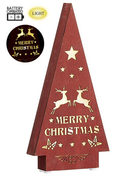 "14"" Battery Operated Merry Christmas Tree Table Top With Light Red XAT581-RE By Silk Flower"