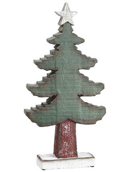 """22.5"""" Tree Table Top With Star Green Red (Pack Of 2) XAT808-GR/RE By Silk Flower"""
