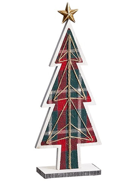 "17.7"" Plaid Tree Table Top With Star Red Green (Pack Of 4) XAT809-RE/GR By Silk Flower"