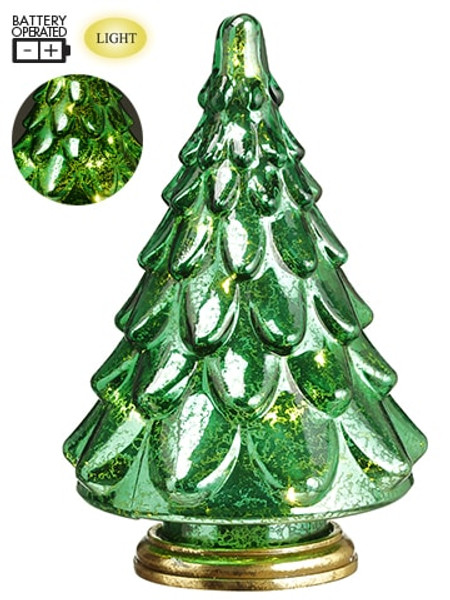 """10"""" Battery Operated Glass Tree With Light Green (Pack Of 4) XAT818-GR By Silk Flower"""