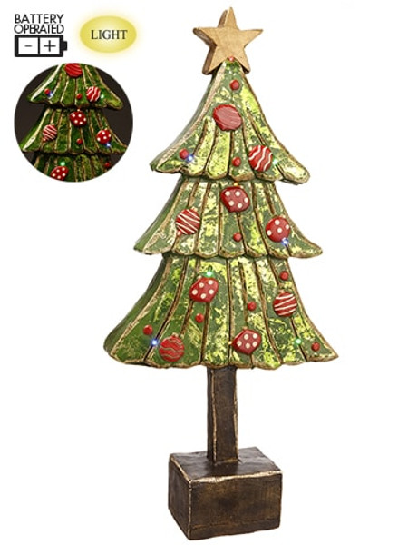 """37"""" Battery Operated Star Tree With Light Green Red XAT835-GR/RE By Silk Flower"""