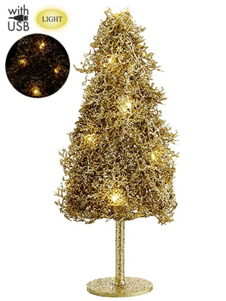 """24"""" Glittered Plastic Twig Tree With Light And Usb Cable Gold (Pack Of 2) XAT879-GO By Silk Flower"""