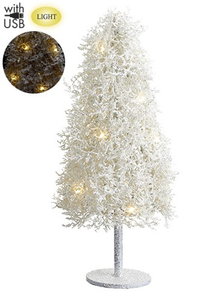 """24"""" Glittered Plastic Twig Tree With Light And Usb Cable White (Pack Of 2) XAT879-WH By Silk Flower"""