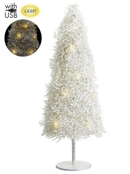 """36"""" Glittered Plastic Twig Tree With Light And Usb Cable White XAT880-WH By Silk Flower"""