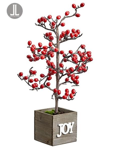 "23.5"" Berry Tree In Joy Wood Box Red (Pack Of 4) XBT001-RE By Silk Flower"