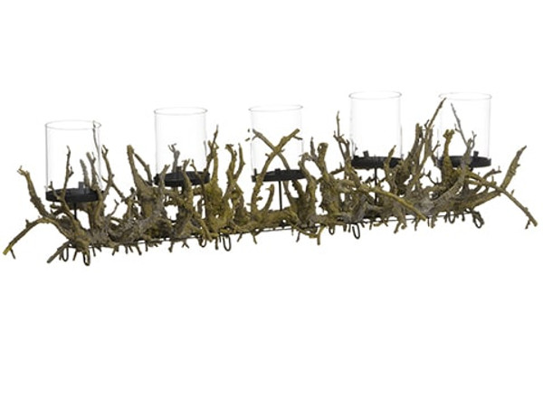 "10""H X 40""L Plastic Twig Centerpiece With Glass Candleholder X5 Brown XDC645-BR By Silk Flower"