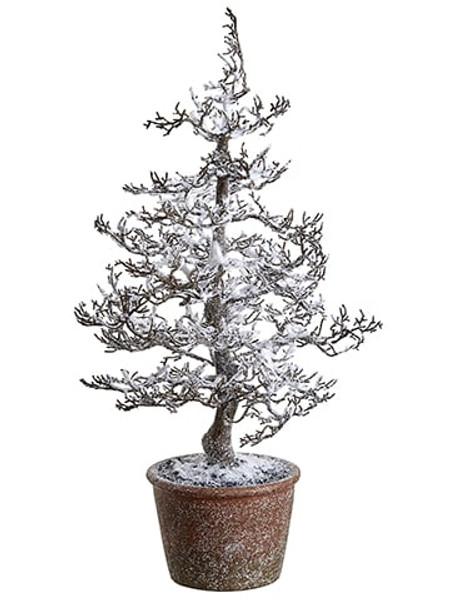 "20"" Snowed Plastic Twig Tree In Paper Mache Pot Brown Snow (Pack Of 4) XLR602-BR/SN By Silk Flower"