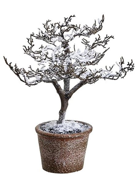 "11"" Snowed Plastic Twig Tree In Paper Mache Pot Brown Snow (Pack Of 6) XLR605-BR/SN By Silk Flower"