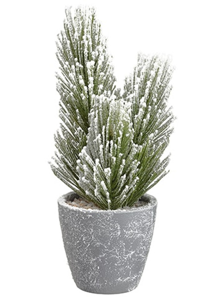 "10.5"" Snowed Pine X3 In Paper Mache Pot Green Snow (Pack Of 6) YTM861-GR/SN By Silk Flower"