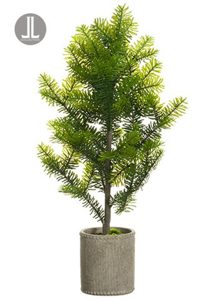 """30"""" Norway Spruce Tree In Cement Pot Green (Pack Of 4) YTN310-GR By Silk Flower"""