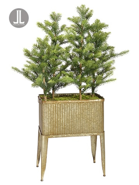 5' Norway Spruce Tree With Pine Cone In Metal Planter Green Brown YTN325-GR/BR By Silk Flower
