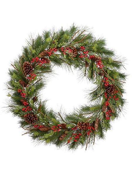 "48"" Pine With Berry/Cone/ Cedar Wreath Green Red YWP009-GR/RE By Silk Flower"
