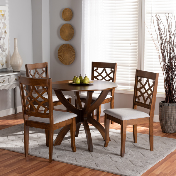 Sandra Modern And Contemporary Grey Fabric Upholstered And Walnut Brown Finished Wood 5-Piece Dining Set Sandra-Grey/Walnut-5PC Dining Set