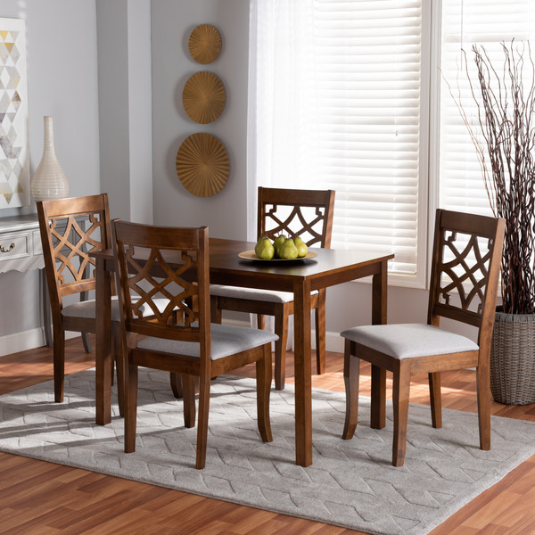 Celina Modern And Contemporary Grey Fabric Upholstered And Walnut Brown Finished Wood 5-Piece Dining Set Celina-Grey/Walnut-5PC Dining Set