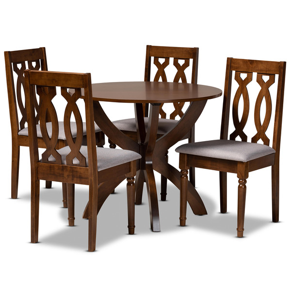 Mona Modern And Contemporary Grey Fabric Upholstered And Walnut Brown Finished Wood 5-Piece Dining Set Mona-Grey/Walnut-5PC Dining Set