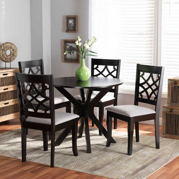 Elena Modern And Contemporary Grey Fabric Upholstered And Dark Brown Finished Wood 5-Piece Dining Set Elena-Grey/Dark Brown-5PC Dining Set