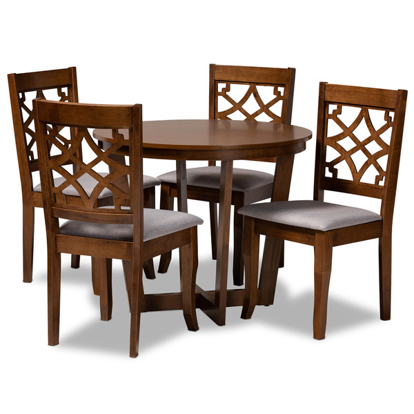 Tricia Modern And Contemporary Grey Fabric Upholstered And Walnut Brown Finished Wood 5-Piece Dining Set Tricia-Grey/Walnut-5PC Dining Set