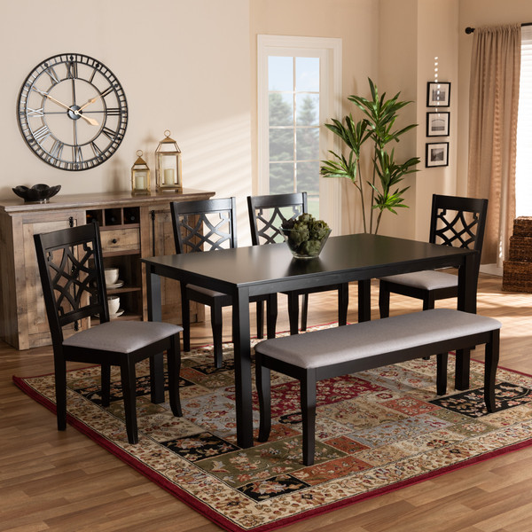 Dori Modern And Contemporary Grey Fabric Upholstered And Dark Brown Finished Wood 6-Piece Dining Set RH331C-Grey/Dark Brown-6PC Dining Set
