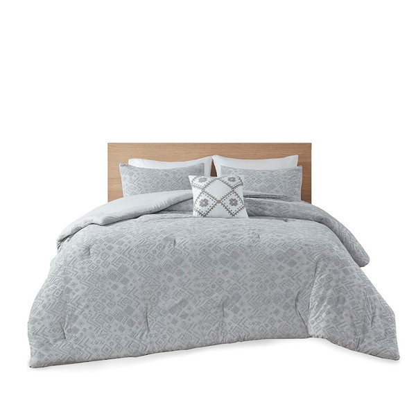 Lane 20% Cotton 80% Polyester Terry Embossed Comforter Set By Intelligent Design ID10-1877