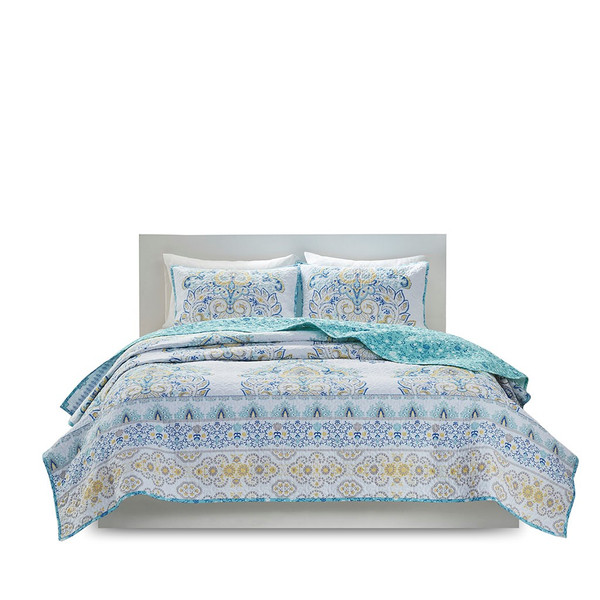 Tatiana 100% Cotton Printed Reversible Coverlet Set By Intelligent Design ID13-1849