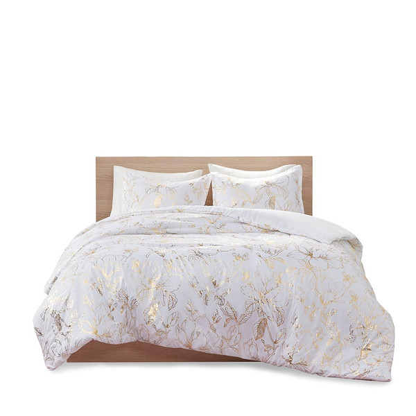 Magnolia 100% Polyester Crushed 5 Pcs Duvet Cover Set By Intelligent Design ID12-1969