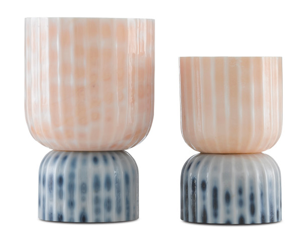 Currey and Company Palazzo Milky Glass Vases Set Of 2 1200-0375
