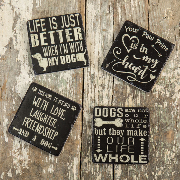 Ragon Set/ 4 You, Me And The Dog Coasters (Pack Of 4) E173050