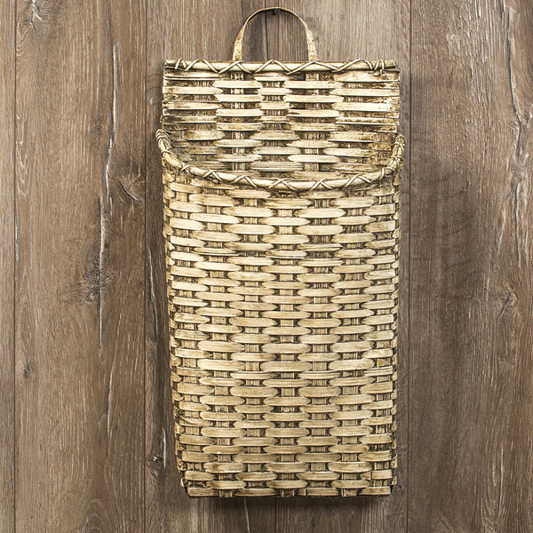Ragon White Wide Wall Basket (Pack Of 2) L169504