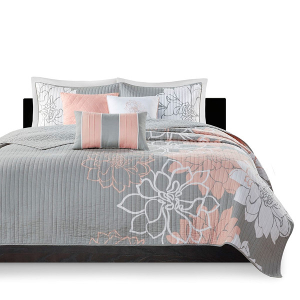 Lola 6 Piece Reversible Cotton Printed Coverlet Set - Full/ Queen MP13-6834