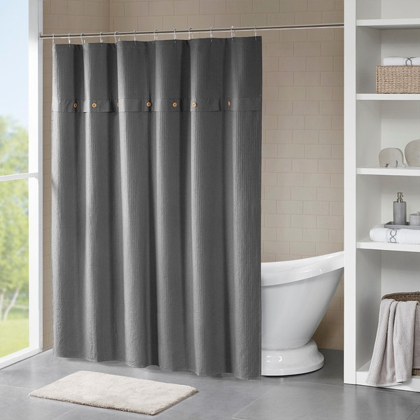 Finley 100% Cotton Waffle Weave Textured Shower Curtain MP70-5637