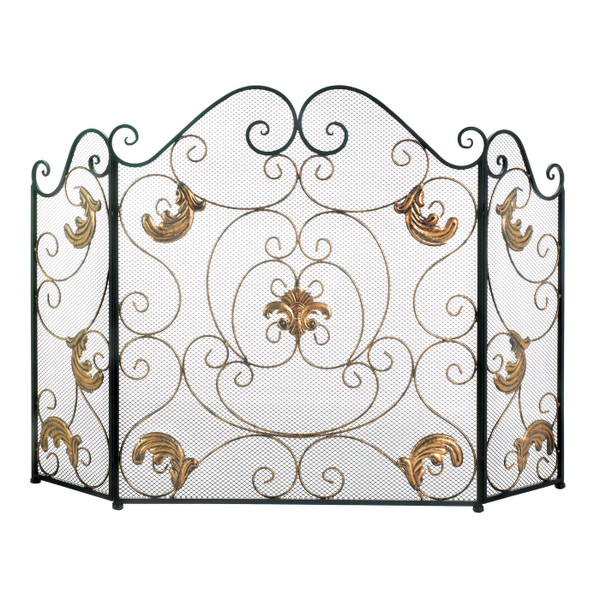 Fleur De Lis Fireplace Screen With Golden Accents 10019006 By AE Wholesale