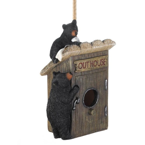Outhouse Bird House With Black Bears 10018985 By AE Wholesale