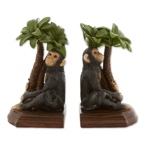 Monkey And Palm Tree Bookends 10019137 By AE Wholesale