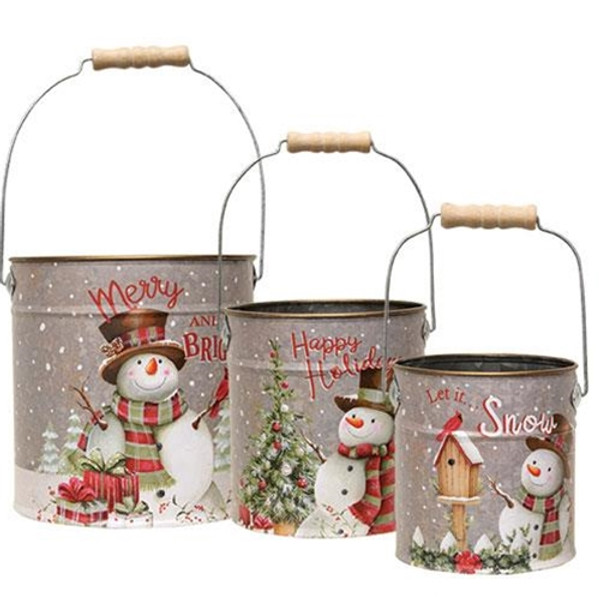 +3/Set Metal Snowman Buckets G2488890 By CWI Gifts
